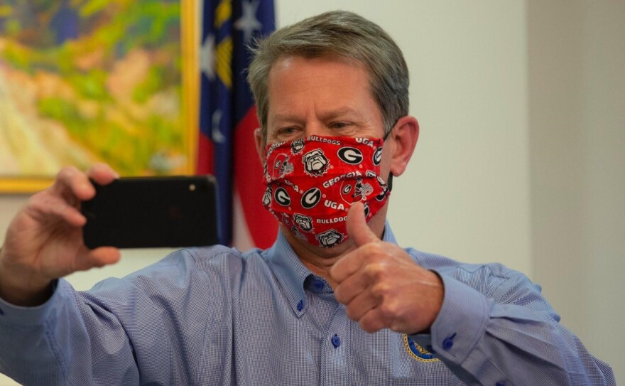 Georgia Gov. Brian Kemp in face mask