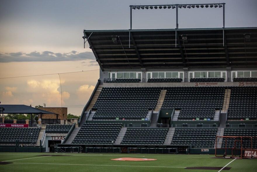 The UT baseball stadium is empty on a summer evening.