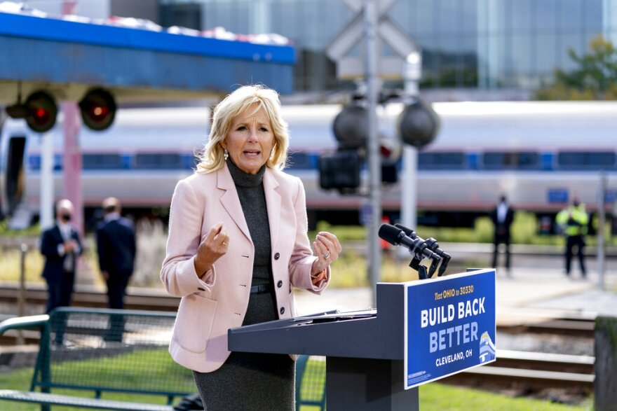 Jill Biden speaks at a campaign stop.