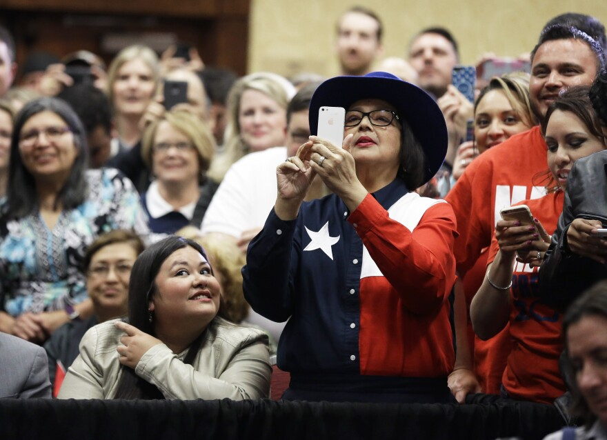 A supporter takes a photo of Republican presidential candidate, Sen. Marco Rubio, on Wednesday in Houston.