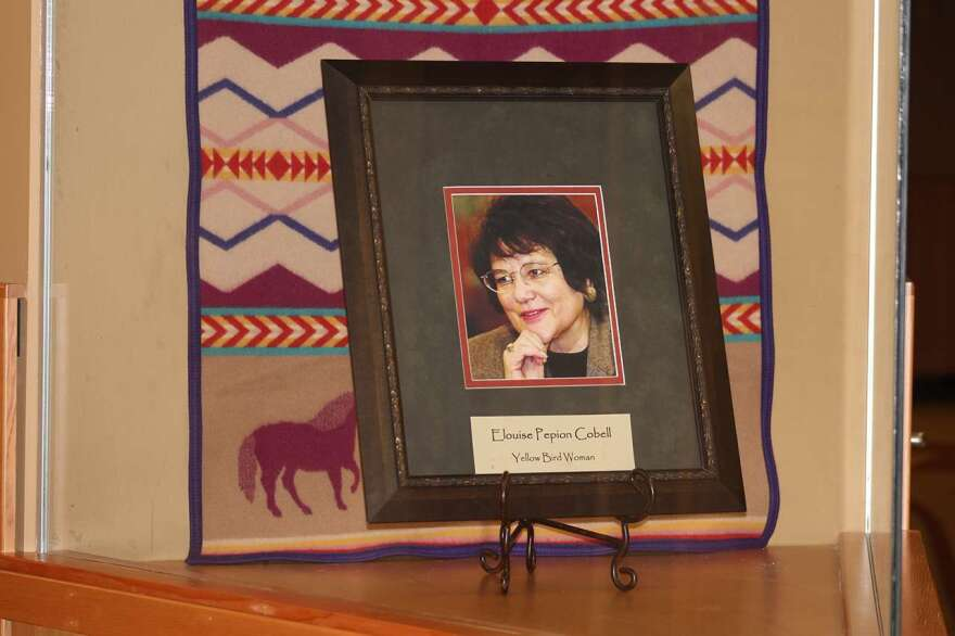 A memorial honoring Elouise Cobell displayed at the University of Montana's Elouise Cobell Land and Culture Institute.