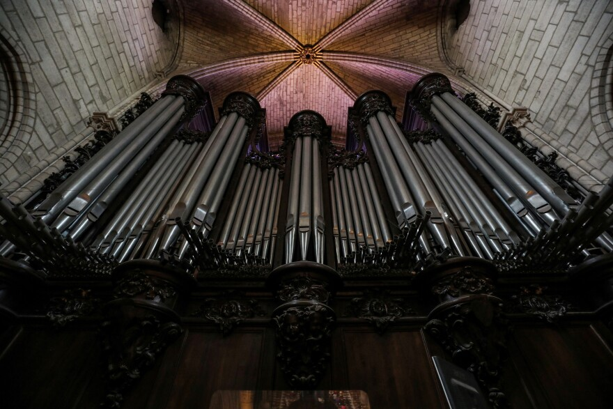 The organ at Notre Dame de Paris Cathedral in Paris.