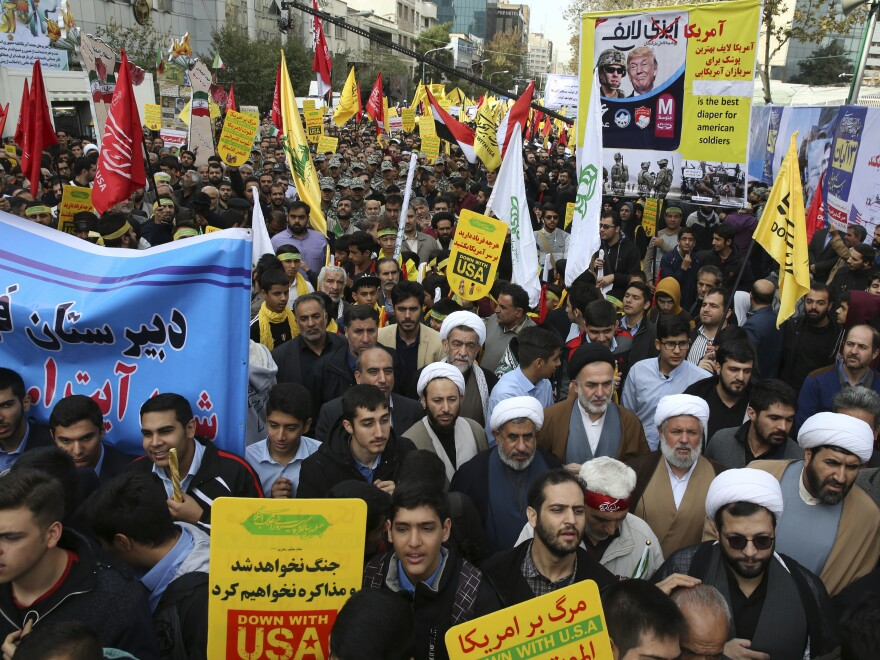 Demonstrators in Iran attend a rally in front of the former U.S. Embassy in Tehran on Sunday, marking the 39th anniversary of the seizure of the embassy by militant Iranian students.