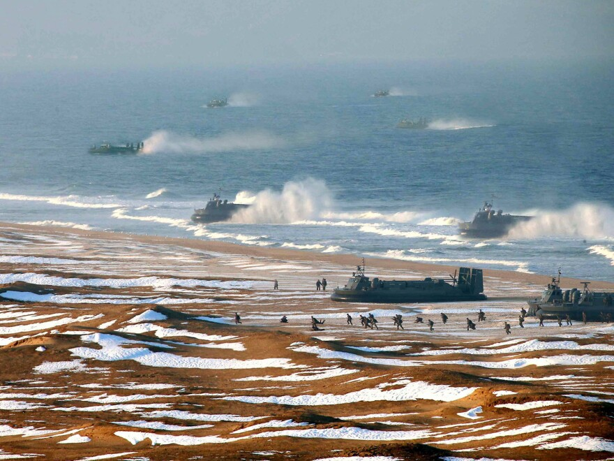 """North Korean """"landing and anti-landing drills"""" are shown in a photo released Tuesday."""