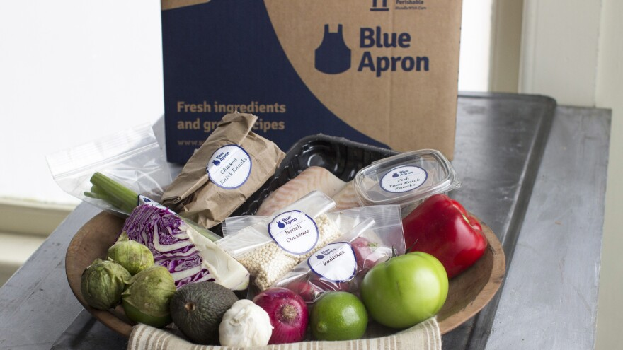 A home-delivered meal kit from Blue Apron.