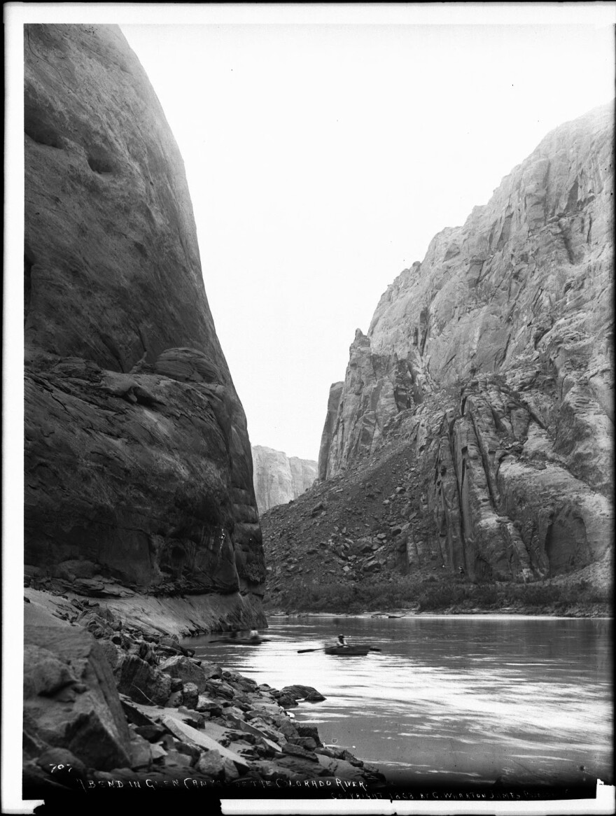 Black and white photo of the Colorado River in Glen Canyon from 1898.
