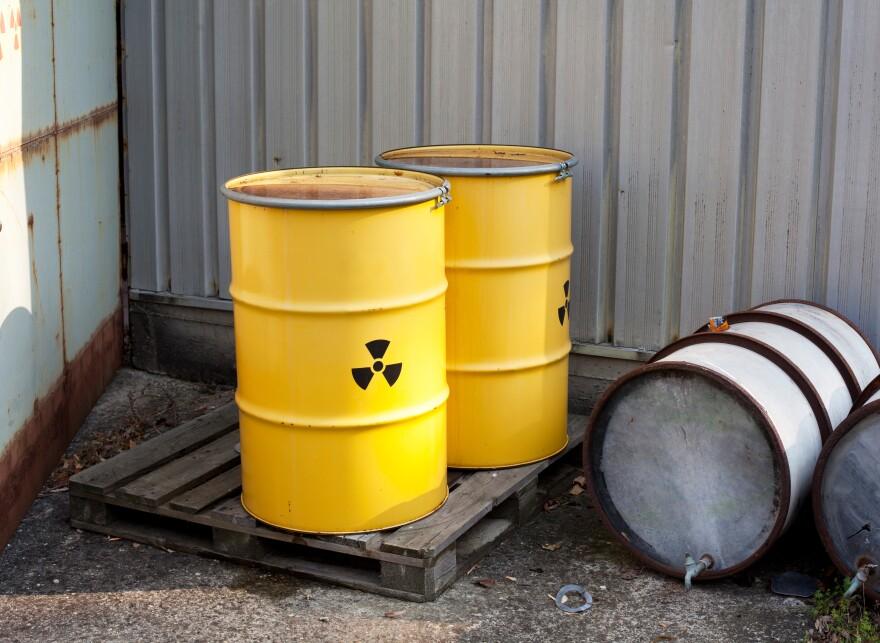 Photo of radioactive waste barrell.