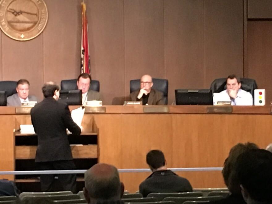 Sierra Club member Michael Berg testifes in February 2017 against St. Louis County's new residential building code to the St. Louis County Building Commission.