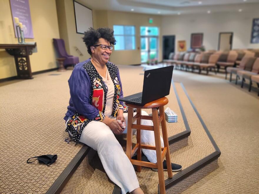 Reverend Crystal Muldrow demonstrates her Zoom setup