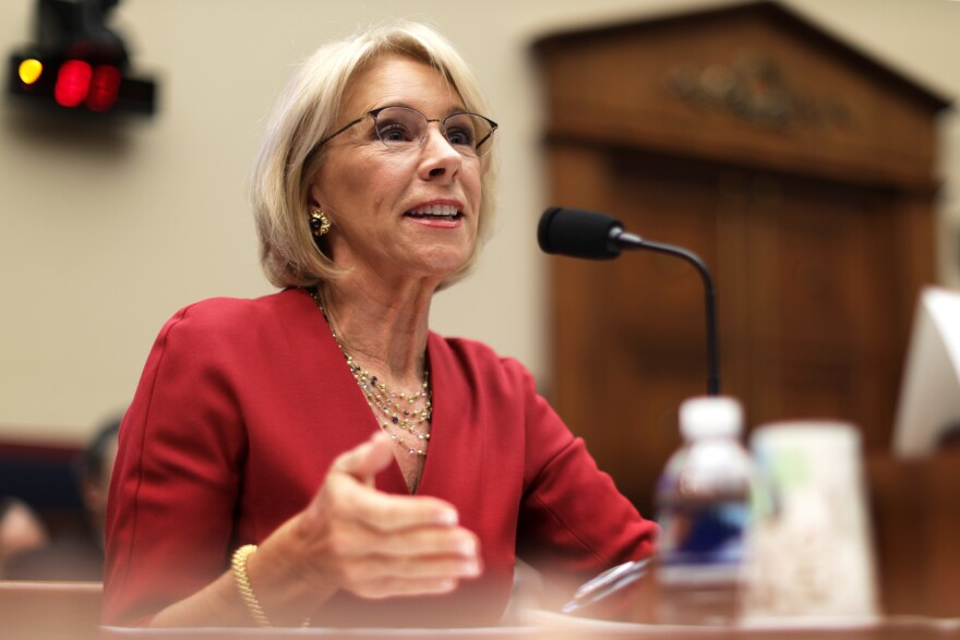 Education Secretary Betsy DeVos testifies on Capitol Hill in Washington, D.C., in December.