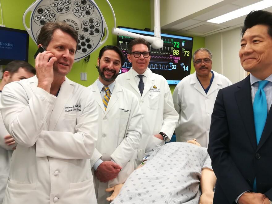 "The Johns Hopkins surgical team (left to right) Richard Redett, Trinity Bivalacqua, Brandacher Gerald, Arthur ""Bud"" Burnett and Andrew Lee."