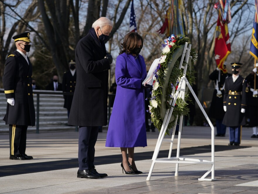 President Joe Biden and Vice President Kamala Harris participate in a wreath laying ceremony at the Tomb of the Unknown Soldier at Arlington National Cemetery in Arlington, Va.