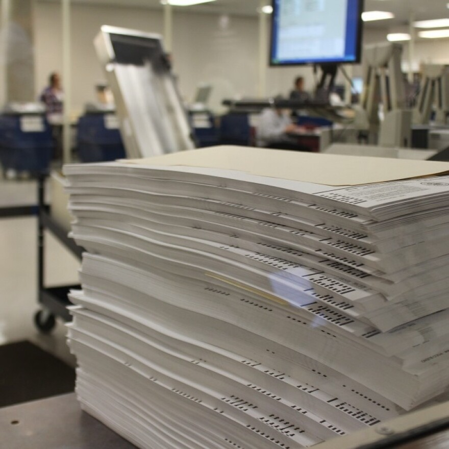 Mock ballots used to test tabulation machines at the Maricopa County Ballot Tabulation Center in Phoenix.