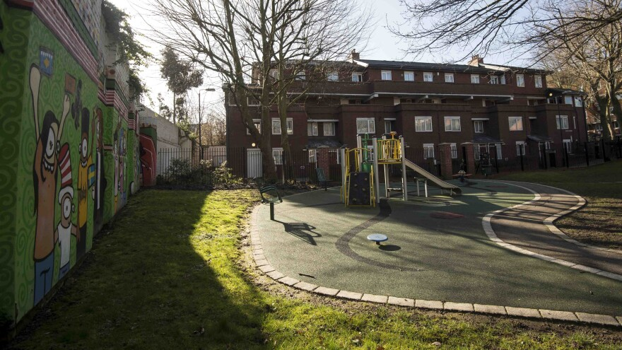 """A playground can be seen outside an address in London where Kuwaiti-born London computer programmer Mohammed Emwazi is believed to have lived. Emwazi has been identified as masked ISIS militant """"Jihadi John."""""""