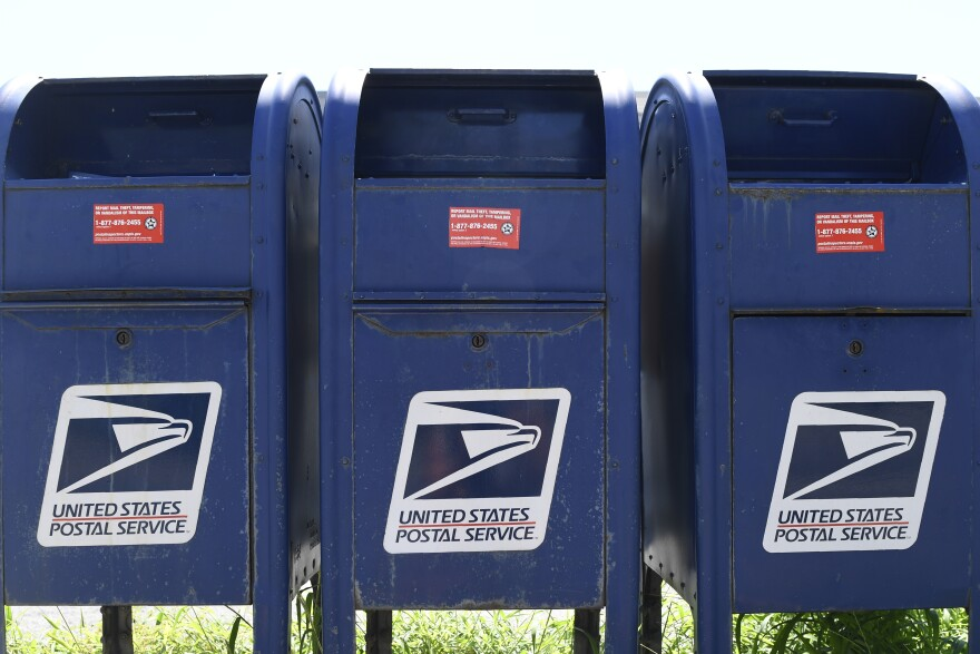 Mail boxes are seen in Annapolis, Md., Tuesday, Aug. 18, 2020.