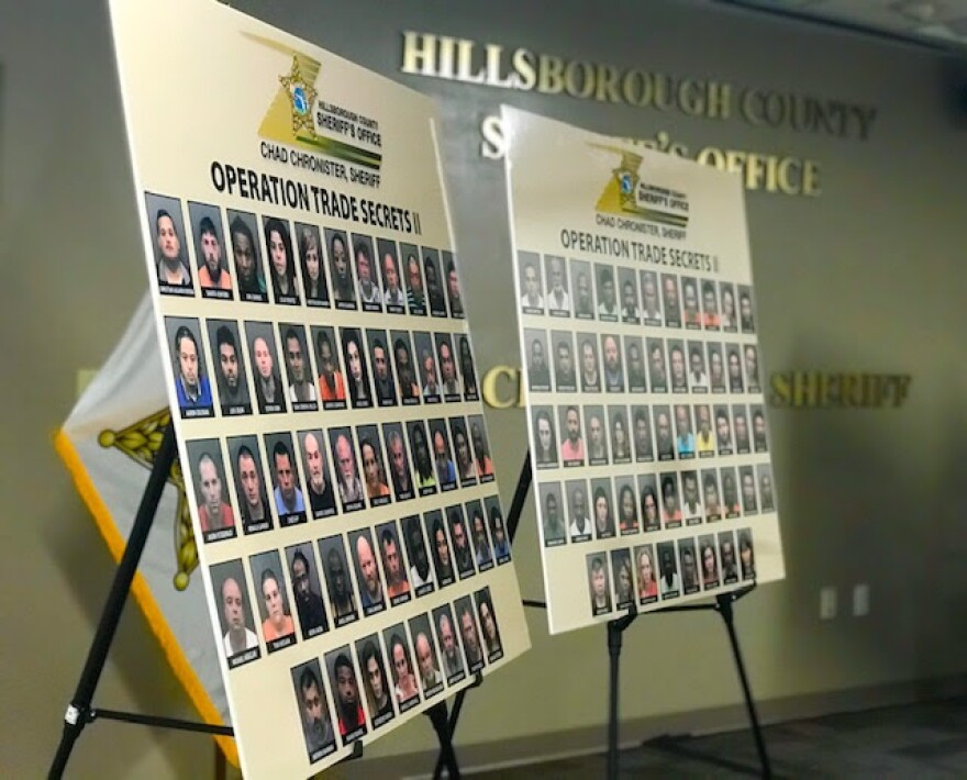 Operation Trade Secrets II board with pictures of those arrested for human trafficking.