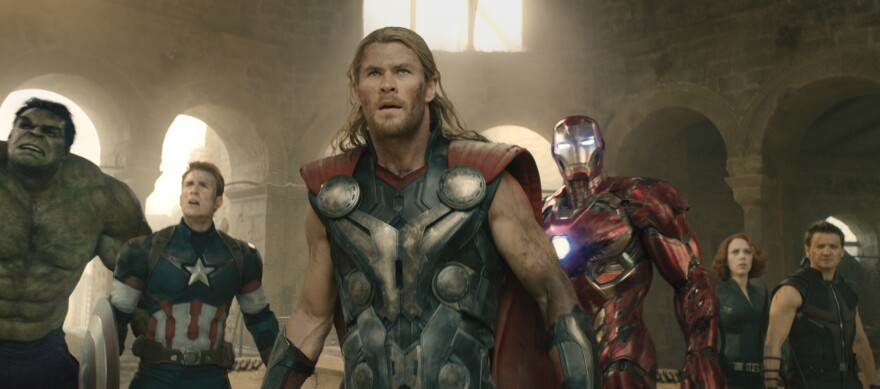 Hulk (Mark Ruffalo), Captain America (Chris Evans), Thor (Chris Hemsworth), Iron Man (Robert Downey Jr.), Black Widow (Scarlett Johansson), and Hawkeye (Jeremy Renner).