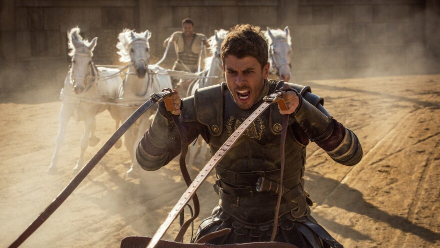 Toby Kebbell (front) plays Messala Severus and Jack Huston (rear) plays Judah Ben-Hur in <em>Ben-Hur.</em>