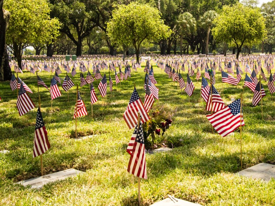 Small flags beside graves at Bay Pines National Cemetery