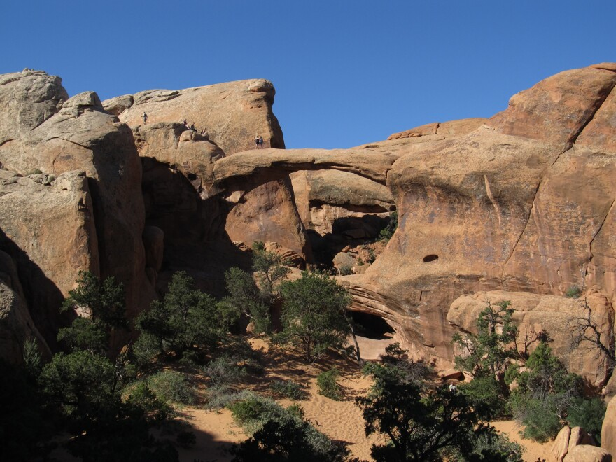 Photo of double archs in red rock