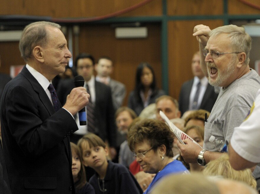 Democratic Sen. Arlen Specter listens to a man voice his complaints during a town hall meeting on Aug. 11, 2009, in Lebanon, Pa. Specter was voted out of office the following year and died in 2012.