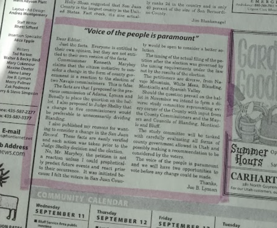 Photo of a letter printed in the San Juan Record advocates for a 5 member commission and refutes that the election is based on redistricting of county.