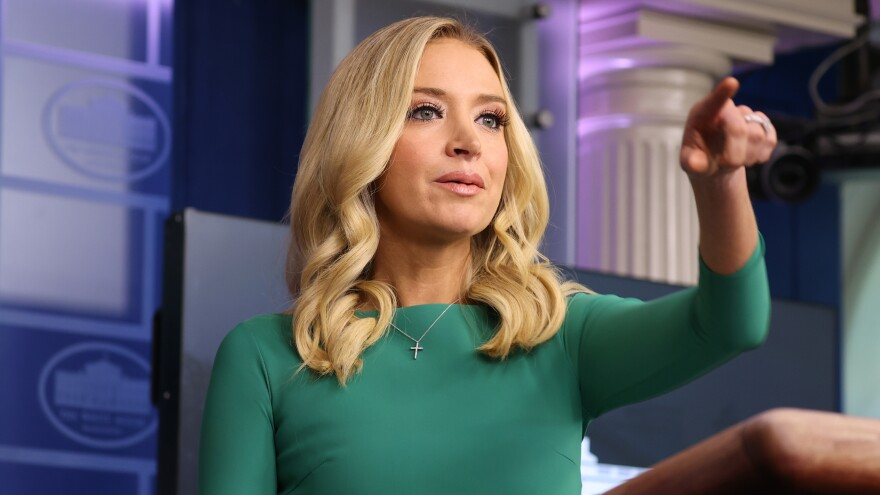 White House press secretary Kayleigh McEnany speaks at the first White House briefing she has held in many weeks.