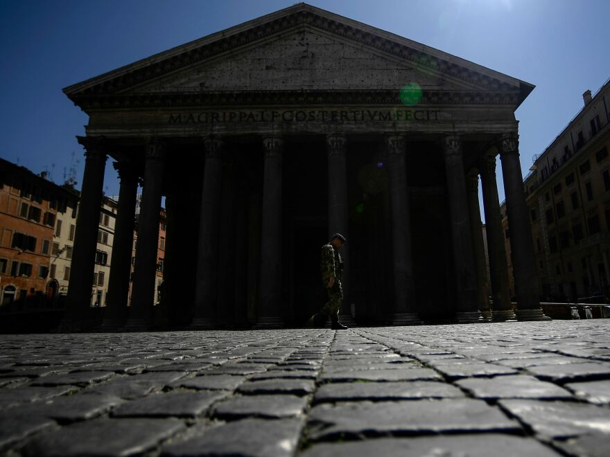 A soldier walks past the Pantheon monument in central Rome on April 1, as Italy extends its lockdown aimed at curbing the spread of the COVID-19 disease. The country has more than 110,000 coronavirus cases.