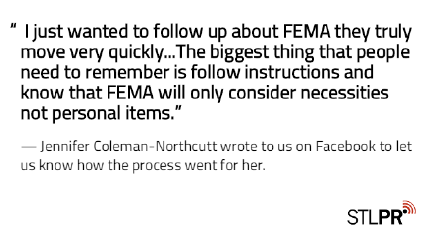 positive Facebook comment for FEMA flood aid process