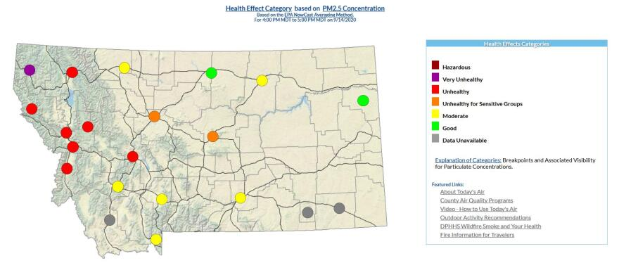 Montana air quality health effects for the evening of Sept. 14, 2020.