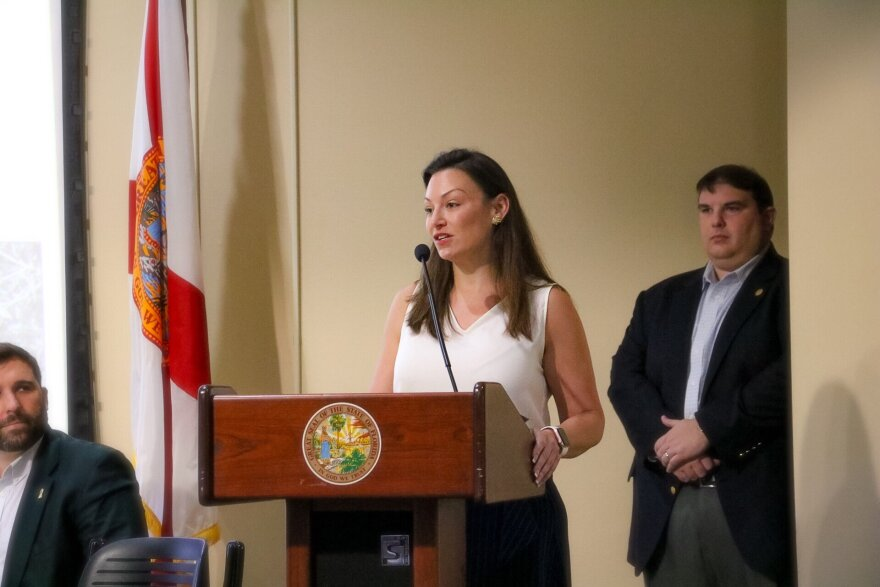 Fried speaks at podium