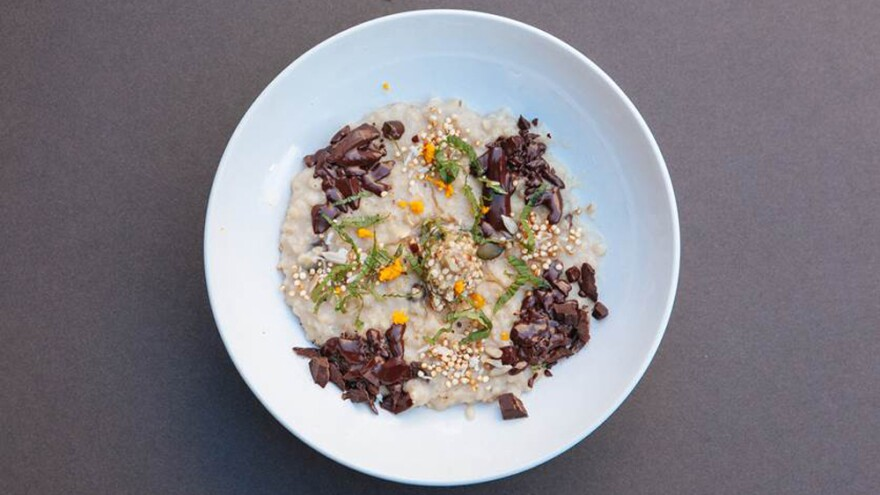 Personal fitness trainer Adam Stansbury won Friday's London competition with this chocolate and honey porridge.