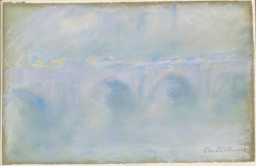 Claude Monet's 1901 <em>Waterloo Bridge</em>, pastel on blue wove paper