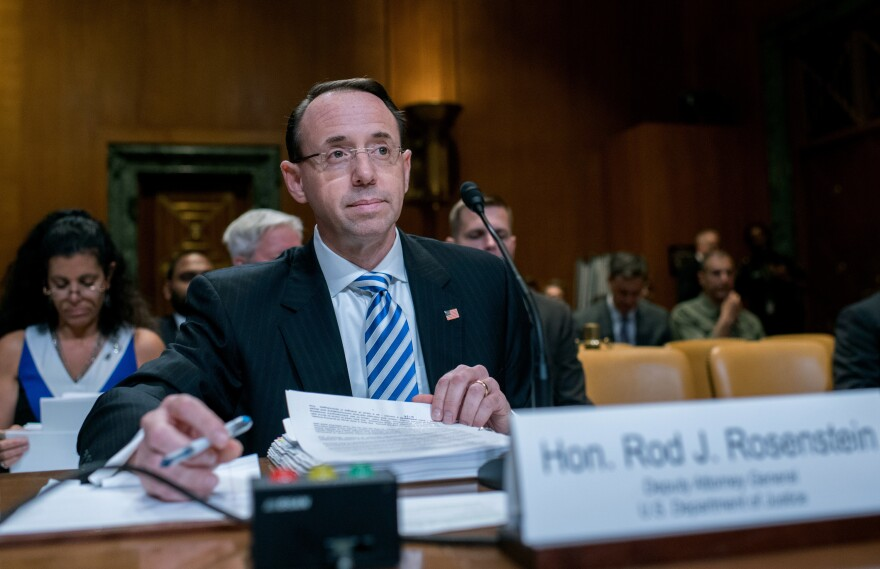 Deputy Attorney General Rod Rosenstein testified before a Senate Appropriations subcommittee Tuesday morning.
