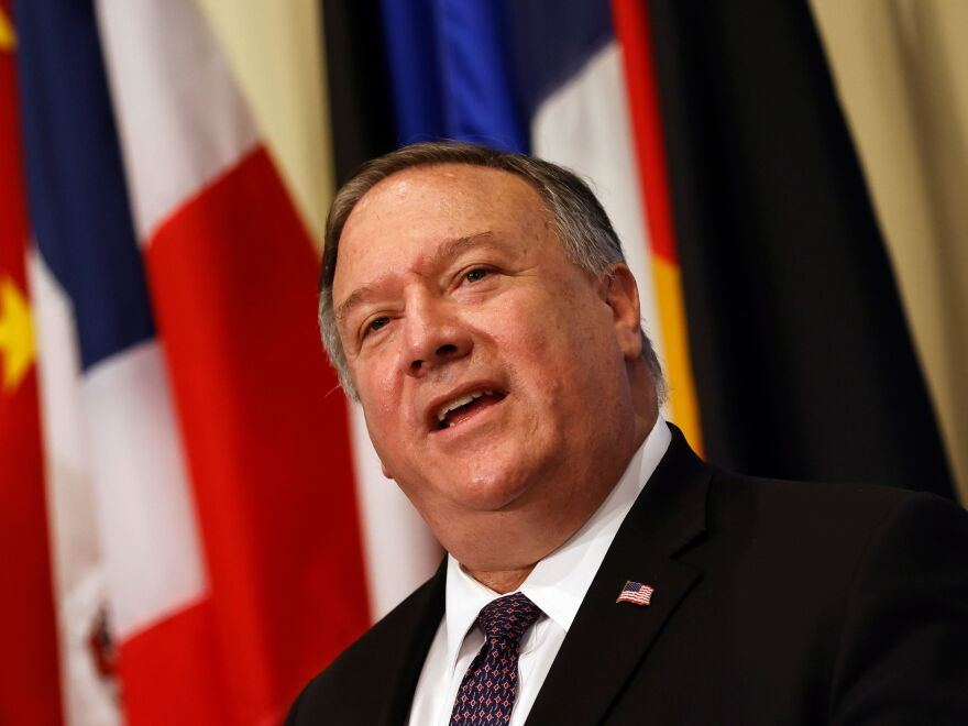Secretary of State Mike Pompeo speaks to reporters Thursday after meeting with members of the U.N. Security Council and calling for the restoration of sanctions against Iran.