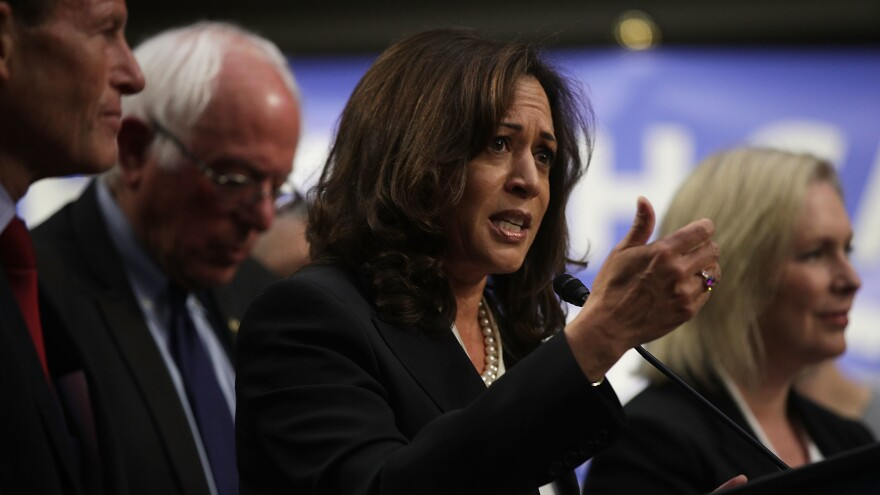 """Sen. Kamala Harris, D-Calif., co-sponsored Vermont Sen. Bernie Sanders' """"Medicare for All"""" bill, along with several other 2020 candidates, when it was released in 2017. Her plan has some key differences from Sanders', including a larger role for private insurance and a higher threshold for taxing household income."""