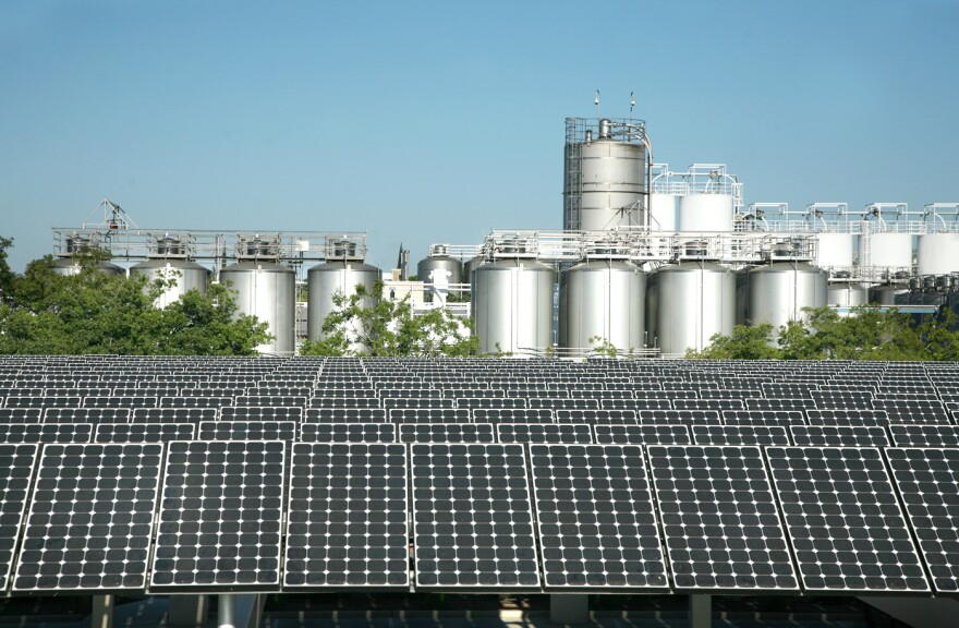 Part of the solar array that covers much Sierra Nevada's brewery in Chico, Calif. The more than 10,500 panels that span the equivalent of 3.5 football fields supply about 20 percent of the brewery's electricity.