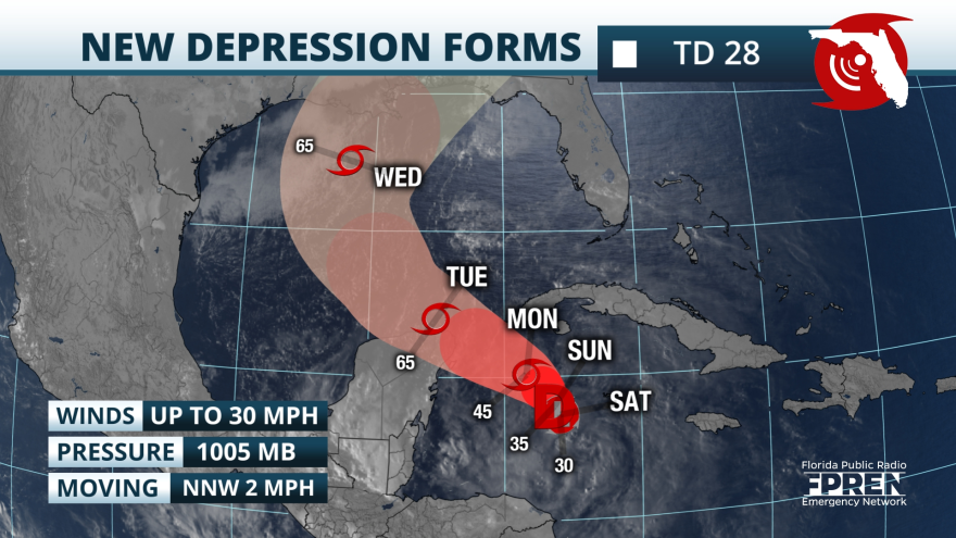 potential track map of Tropical Depression 28