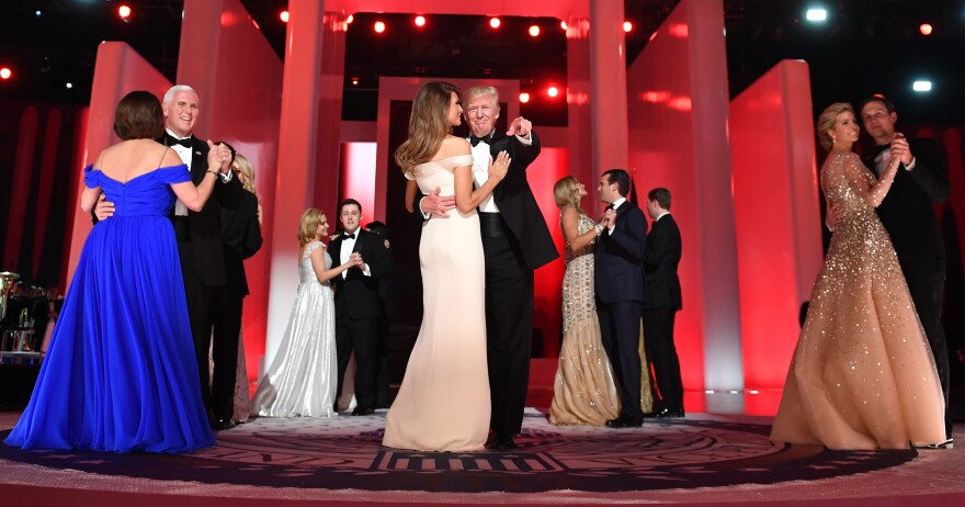 Vice President Pence and wife Karen join members of the Trump family for a dance during the Freedom Ball at the Washington Convention Center Friday.