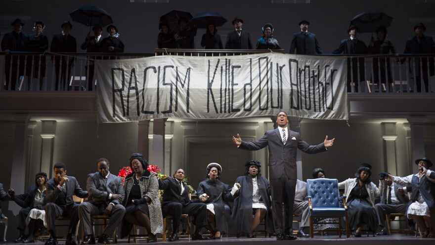 Soloman Howard performs as Dr. Martin Luther King, Jr. in Philip Glass and Christopher Hampton's <em>Appomattox</em>.