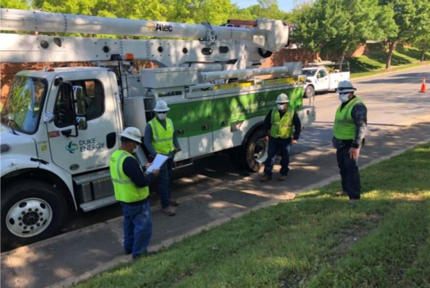 Duke Energy has given utility workers masks and other protective measures as they respond to calls during the COVID-19 outbreak.