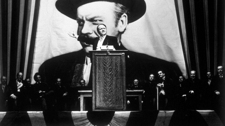 Orson Welles takes the lead role in his film <em>Citizen Kane</em>, the 1941 film that took clear aim at publishing mogul William Randolph Hearst. Hearst hated the movie and did everything he could to stop it from being released.