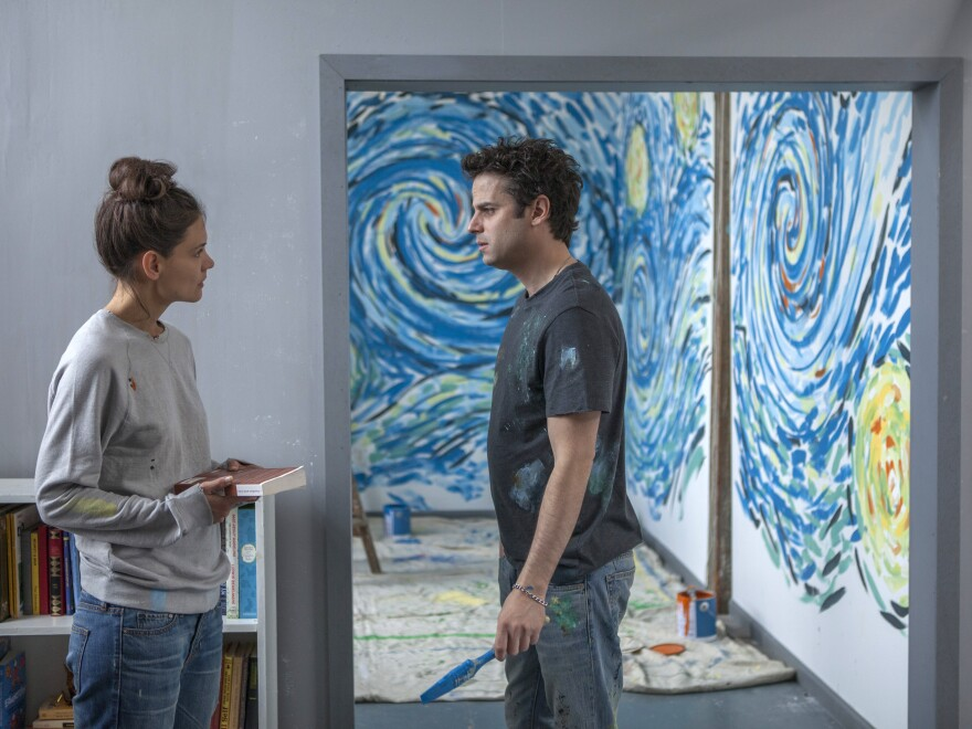 Katie Holmes and Luke Kirby play two people with bipolar disorder who fall in love in <em>Touched With Fire</em>.