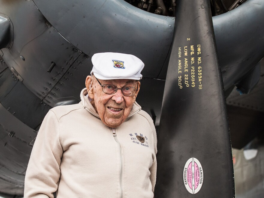 "Dick Cole at 103 with the B-25 ""Grumpy"" at the Oregon International Airshow in Sept. 2018."