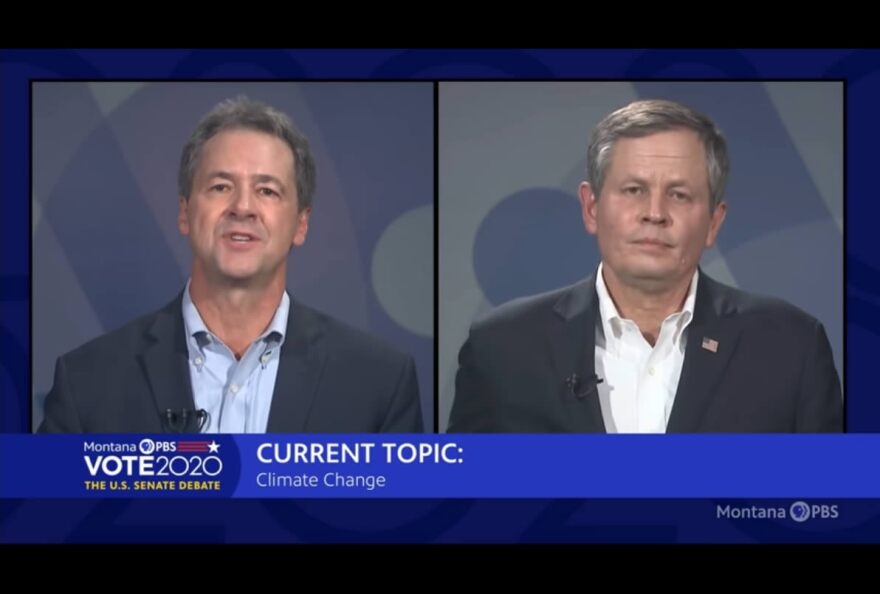 "A split screen of Gov. Steve Bullock (D-Mont.) and Sen. Steve Daines (R-Mont.) with a bottom third chyron that reads ""Current topic: Supreme Court justice nomination."""