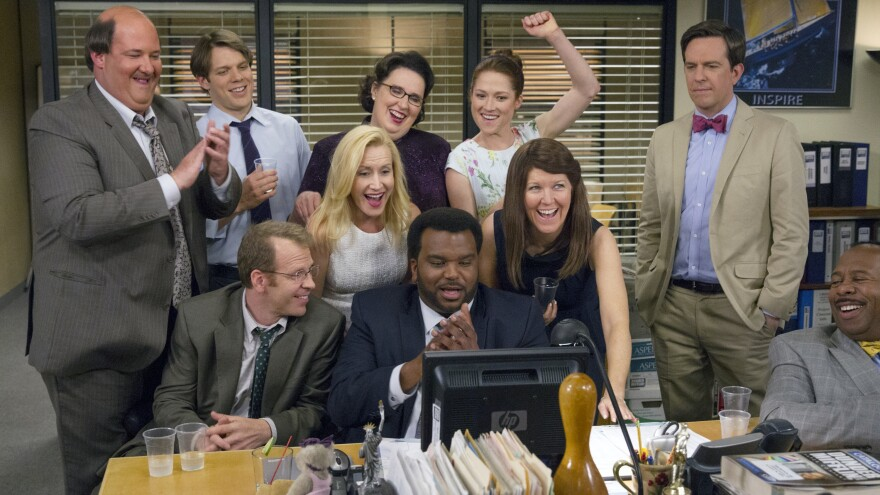 Members of the cast of <em>The Office</em>, a show that producers may resurrect with characters working from home because of the coronavirus outbreak.