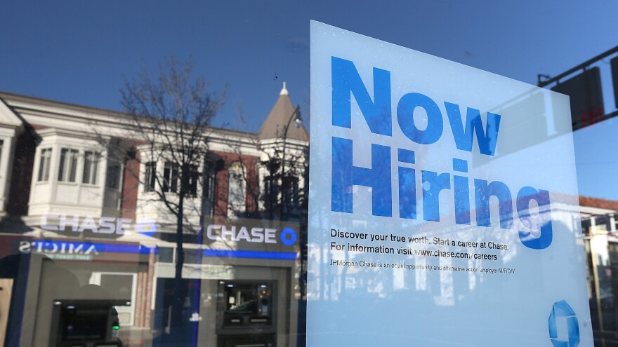 """Hoping to see more of these: A """"now hiring"""" sign in the window of a bank in San Rafael, Calif., in January."""