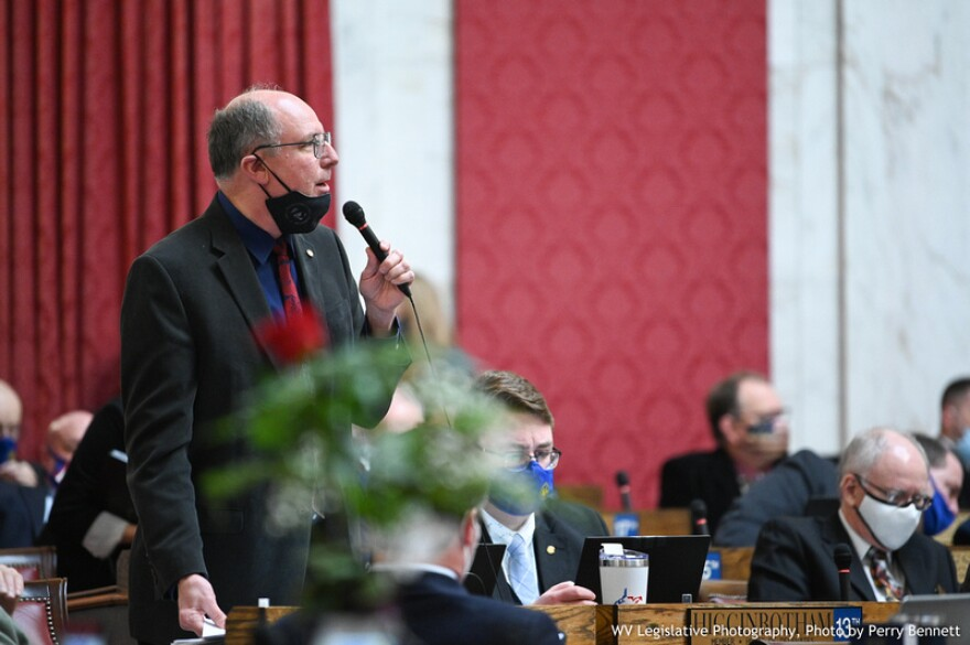 House Education Chair Del. Joe Ellington, R-Mercer, takes questions on HB 2012 during a House floor session on Feb. 16, 2021.