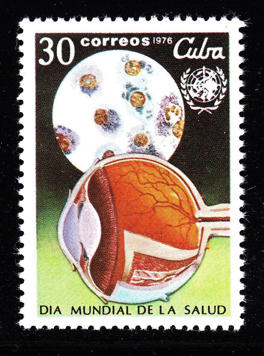 The 1976 stamp from Cuba was issued in honor of World Health Day — dedicated to the prevention of blindness that year.