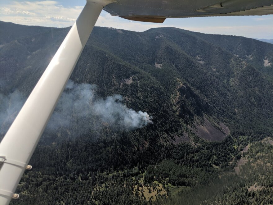 An aerial view of the Beeskove fire in the Rattlesnake National Recreation Area near Missoula, July 23, 2019.